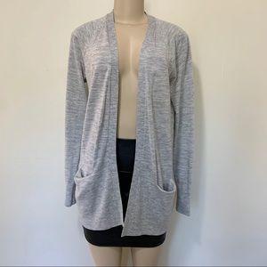 LOFT open cardigan with pockets, grey size medium